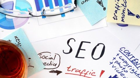 Papers with text, graphs and seo (search engine optimization).